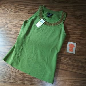 NWT Cable & Gauge Green & Gold Beaded Tank Top